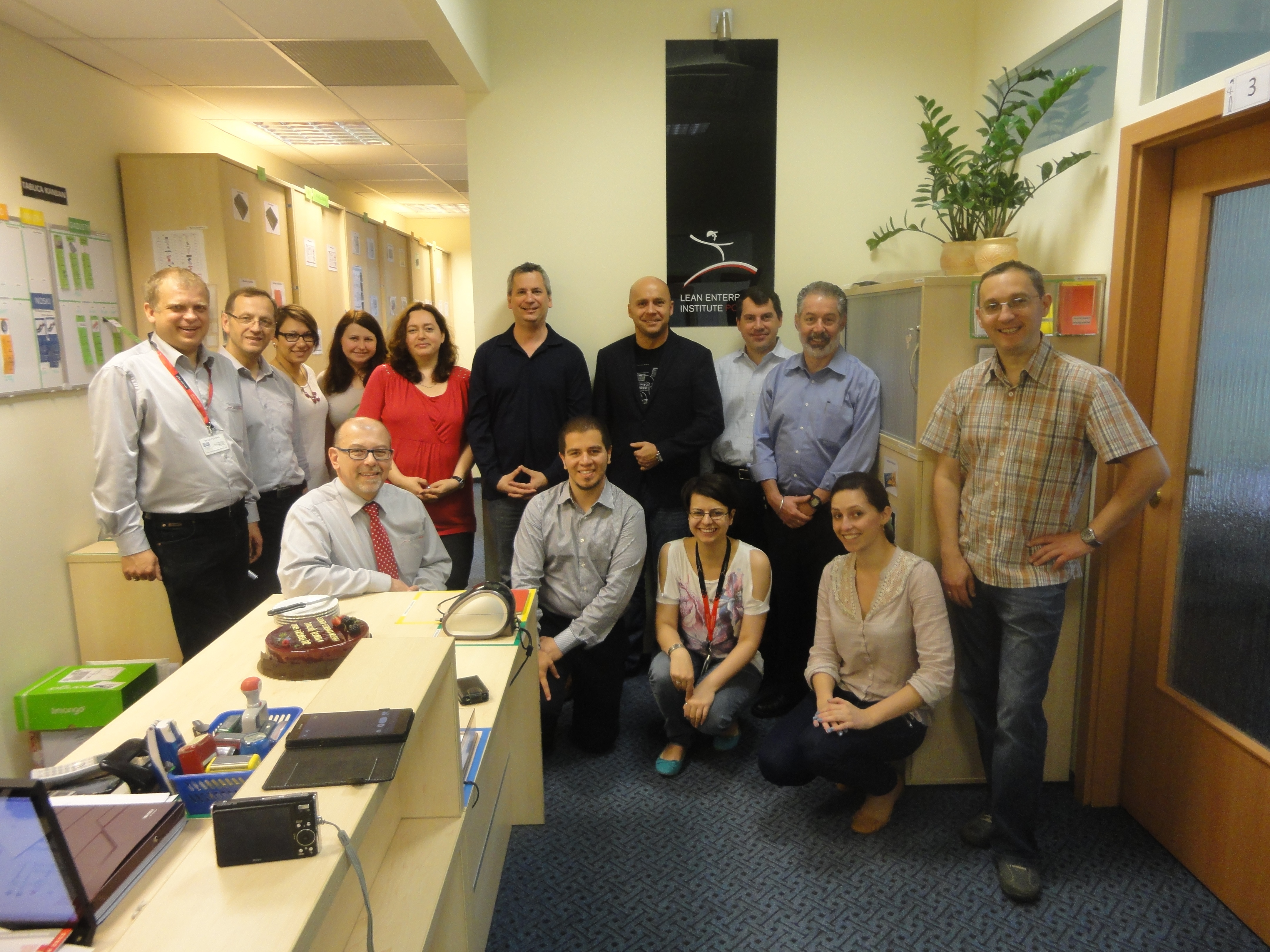 With the LEI Polska team at their office in Wroclaw.  Executive Director Tomasz Koch is kneeling at lower left.