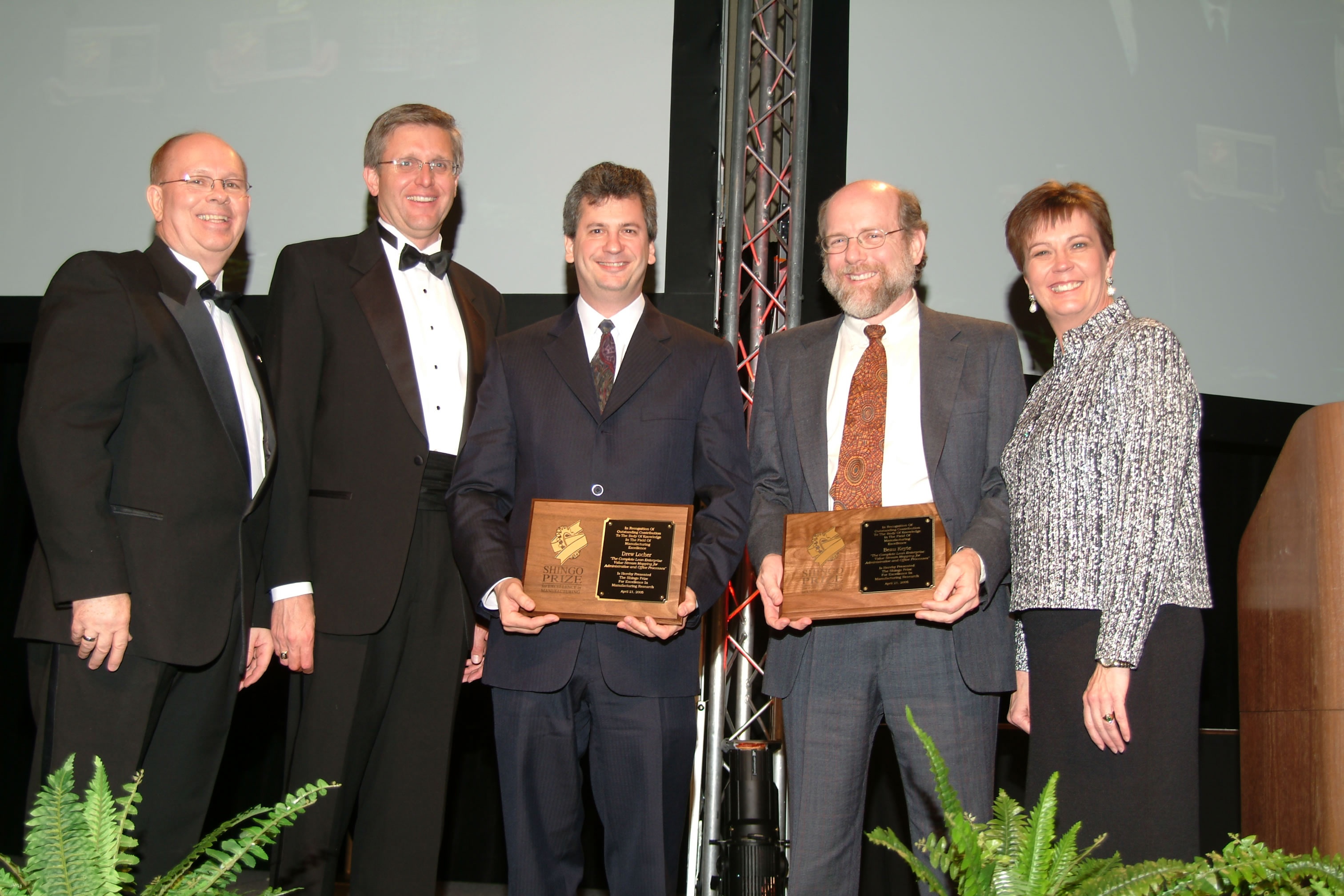 """Receiving Shingo Prize for """"The Complete Lean Enterprise"""" with co-author Beau Keyte. Former Shingo Executive Director Ross Robson on left."""